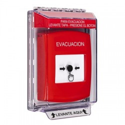 GLR041EV-ES STI Red Indoor/Outdoor Low Profile Flush Mount w/ Sound Key-to-Reset Push Button with EVACUATION Label Spanish