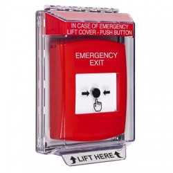 GLR041EX-EN STI Red Indoor/Outdoor Low Profile Flush Mount w/ Sound Key-to-Reset Push Button with EMERGENCY EXIT Label English