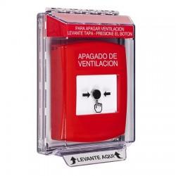 GLR041HV-ES STI Red Indoor/Outdoor Low Profile Flush Mount w/ Sound Key-to-Reset Push Button with HVAC SHUT-DOWN Label Spanish