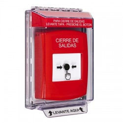 GLR041LD-ES STI Red Indoor/Outdoor Low Profile Flush Mount w/ Sound Key-to-Reset Push Button with LOCKDOWN Label Spanish