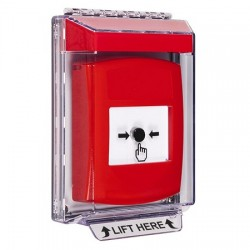 GLR041NT-EN STI Red Indoor/Outdoor Low Profile Flush Mount w/ Sound Key-to-Reset Push Button with No Text Label English