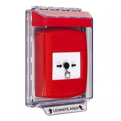 GLR041NT-ES STI Red Indoor/Outdoor Low Profile Flush Mount w/ Sound Key-to-Reset Push Button with No Text Label Spanish