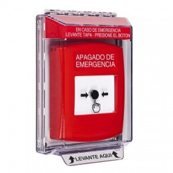 GLR041PO-ES STI Red Indoor/Outdoor Low Profile Flush Mount w/ Sound Key-to-Reset Push Button with EMERGENCY POWER OFF Label Spanish