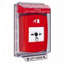 GLR041RM-EN STI Red Indoor/Outdoor Low Profile Flush Mount w/ Sound Key-to-Reset Push Button with Running Man Icon English