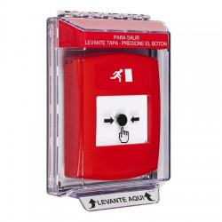 GLR041RM-ES STI Red Indoor/Outdoor Low Profile Flush Mount w/ Sound Key-to-Reset Push Button with Running Man Icon Spanish