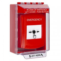 GLR071EM-EN STI Red Indoor/Outdoor Low Profile Surface Mount Key-to-Reset Push Button with EMERGENCY Label English