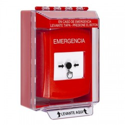 GLR071EM-ES STI Red Indoor/Outdoor Low Profile Surface Mount Key-to-Reset Push Button with EMERGENCY Label Spanish