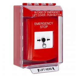 GLR071ES-EN STI Red Indoor/Outdoor Low Profile Surface Mount Key-to-Reset Push Button with EMERGENCY STOP Label English