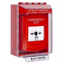 GLR071EX-EN STI Red Indoor/Outdoor Low Profile Surface Mount Key-to-Reset Push Button with EMERGENCY EXIT Label English