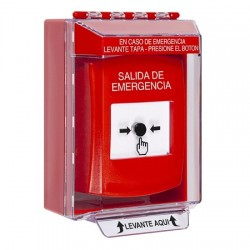 GLR071EX-ES STI Red Indoor/Outdoor Low Profile Surface Mount Key-to-Reset Push Button with EMERGENCY EXIT Label Spanish