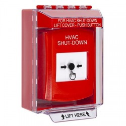 GLR071HV-EN STI Red Indoor/Outdoor Low Profile Surface Mount Key-to-Reset Push Button with HVAC SHUT-DOWN Label English