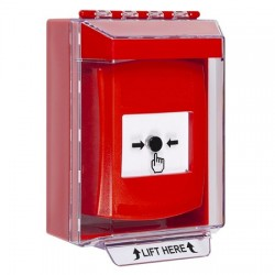 GLR071NT-EN STI Red Indoor/Outdoor Low Profile Surface Mount Key-to-Reset Push Button with No Text Label English