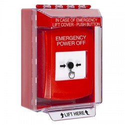 GLR071PO-EN STI Red Indoor/Outdoor Low Profile Surface Mount Key-to-Reset Push Button with EMERGENCY POWER OFF Label English
