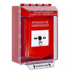 GLR071PO-ES STI Red Indoor/Outdoor Low Profile Surface Mount Key-to-Reset Push Button with EMERGENCY POWER OFF Label Spanish