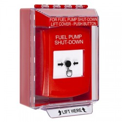 GLR071PS-EN STI Red Indoor/Outdoor Low Profile Surface Mount Key-to-Reset Push Button with FUEL PUMP SHUT-DOWN Label English