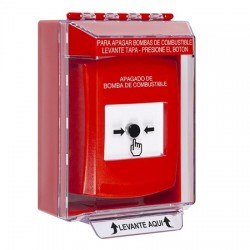 GLR071PS-ES STI Red Indoor/Outdoor Low Profile Surface Mount Key-to-Reset Push Button with FUEL PUMP SHUT-DOWN Label Spanish