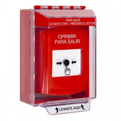 GLR071PX-ES STI Red Indoor/Outdoor Low Profile Surface Mount Key-to-Reset Push Button with PUSH TO EXIT Label Spanish