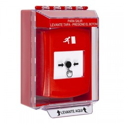 GLR071RM-ES STI Red Indoor/Outdoor Low Profile Surface Mount Key-to-Reset Push Button with Running Man Icon Spanish