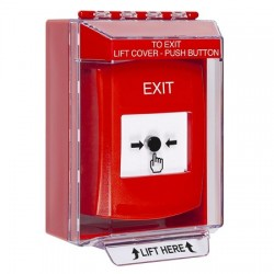 GLR071XT-EN STI Red Indoor/Outdoor Low Profile Surface Mount Key-to-Reset Push Button with EXIT Label English