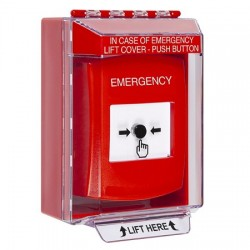 GLR081EM-EN STI Red Indoor/Outdoor Low Profile Surface Mount w/ Sound Key-to-Reset Push Button with EMERGENCY Label English