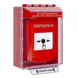 GLR081EM-ES STI Red Indoor/Outdoor Low Profile Surface Mount w/ Sound Key-to-Reset Push Button with EMERGENCY Label Spanish