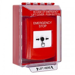 GLR081ES-EN STI Red Indoor/Outdoor Low Profile Surface Mount w/ Sound Key-to-Reset Push Button with EMERGENCY STOP Label English