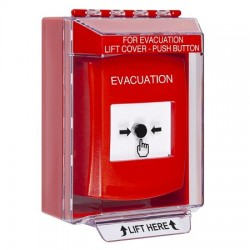 GLR081EV-EN STI Red Indoor/Outdoor Low Profile Surface Mount w/ Sound Key-to-Reset Push Button with EVACUATION Label English
