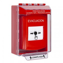 GLR081EV-ES STI Red Indoor/Outdoor Low Profile Surface Mount w/ Sound Key-to-Reset Push Button with EVACUATION Label Spanish