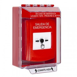 GLR081EX-ES STI Red Indoor/Outdoor Low Profile Surface Mount w/ Sound Key-to-Reset Push Button with EMERGENCY EXIT Label Spanish