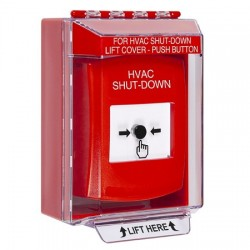 GLR081HV-EN STI Red Indoor/Outdoor Low Profile Surface Mount w/ Sound Key-to-Reset Push Button with HVAC SHUT-DOWN Label English