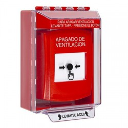 GLR081HV-ES STI Red Indoor/Outdoor Low Profile Surface Mount w/ Sound Key-to-Reset Push Button with HVAC SHUT-DOWN Label Spanish
