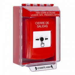 GLR081LD-ES STI Red Indoor/Outdoor Low Profile Surface Mount w/ Sound Key-to-Reset Push Button with LOCKDOWN Label Spanish