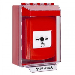 GLR081NT-EN STI Red Indoor/Outdoor Low Profile Surface Mount w/ Sound Key-to-Reset Push Button with No Text Label English
