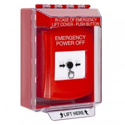 GLR081PO-EN STI Red Indoor/Outdoor Low Profile Surface Mount w/ Sound Key-to-Reset Push Button with EMERGENCY POWER OFF Label English