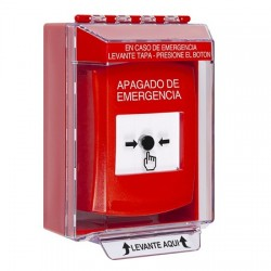 GLR081PO-ES STI Red Indoor/Outdoor Low Profile Surface Mount w/ Sound Key-to-Reset Push Button with EMERGENCY POWER OFF Label Spanish