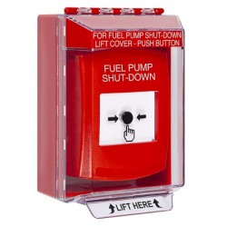 GLR081PS-EN STI Red Indoor/Outdoor Low Profile Surface Mount w/ Sound Key-to-Reset Push Button with FUEL PUMP SHUT-DOWN Label English