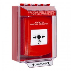 GLR081PS-ES STI Red Indoor/Outdoor Low Profile Surface Mount w/ Sound Key-to-Reset Push Button with FUEL PUMP SHUT-DOWN Label Spanish