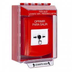 GLR081PX-ES STI Red Indoor/Outdoor Low Profile Surface Mount w/ Sound Key-to-Reset Push Button with PUSH TO EXIT Label Spanish