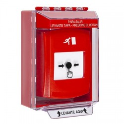 GLR081RM-ES STI Red Indoor/Outdoor Low Profile Surface Mount w/ Sound Key-to-Reset Push Button with Running Man Icon Spanish