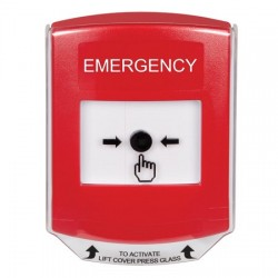 GLR0A1EM-EN STI Red Indoor Only Shield w/ Sound Key-to-Reset Push Button with EMERGENCY Label English
