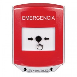 GLR0A1EM-ES STI Red Indoor Only Shield w/ Sound Key-to-Reset Push Button with EMERGENCY Label Spanish