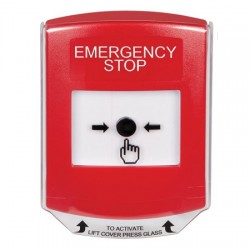 GLR0A1ES-EN STI Red Indoor Only Shield w/ Sound Key-to-Reset Push Button with EMERGENCY STOP Label English
