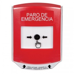 GLR0A1ES-ES STI Red Indoor Only Shield w/ Sound Key-to-Reset Push Button with EMERGENCY STOP Label Spanish