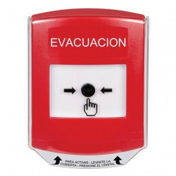 GLR0A1EV-ES STI Red Indoor Only Shield w/ Sound Key-to-Reset Push Button with EVACUATION Label Spanish