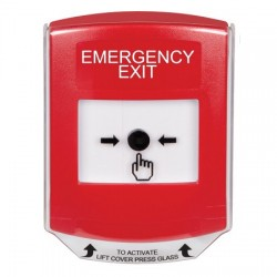 GLR0A1EX-EN STI Red Indoor Only Shield w/ Sound Key-to-Reset Push Button with EMERGENCY EXIT Label English