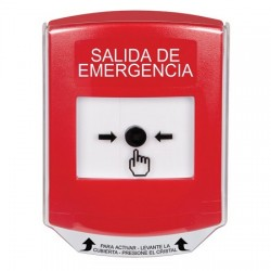 GLR0A1EX-ES STI Red Indoor Only Shield w/ Sound Key-to-Reset Push Button with EMERGENCY EXIT Label Spanish