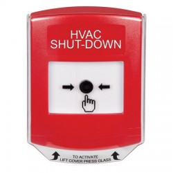 GLR0A1HV-EN STI Red Indoor Only Shield w/ Sound Key-to-Reset Push Button with HVAC SHUT-DOWN Label English