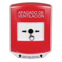GLR0A1HV-ES STI Red Indoor Only Shield w/ Sound Key-to-Reset Push Button with HVAC SHUT-DOWN Label Spanish