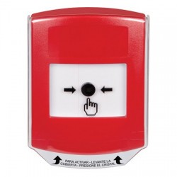 GLR0A1NT-ES STI Red Indoor Only Shield w/ Sound Key-to-Reset Push Button with No Text Label Spanish
