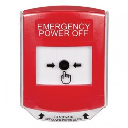 GLR0A1PO-EN STI Red Indoor Only Shield w/ Sound Key-to-Reset Push Button with EMERGENCY POWER OFF Label English